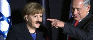 Angela Merkel con bigote por culpa de una sombra