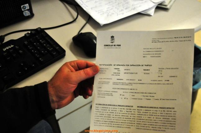 Sanción que acaba de comunicar la policía de Poio al vilagarciano, Javier Raposo.