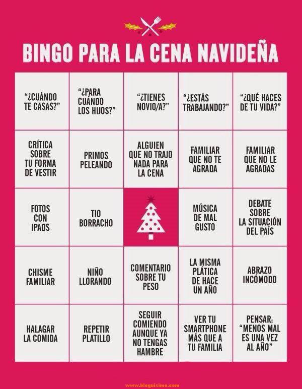 bingo para la cena navideña